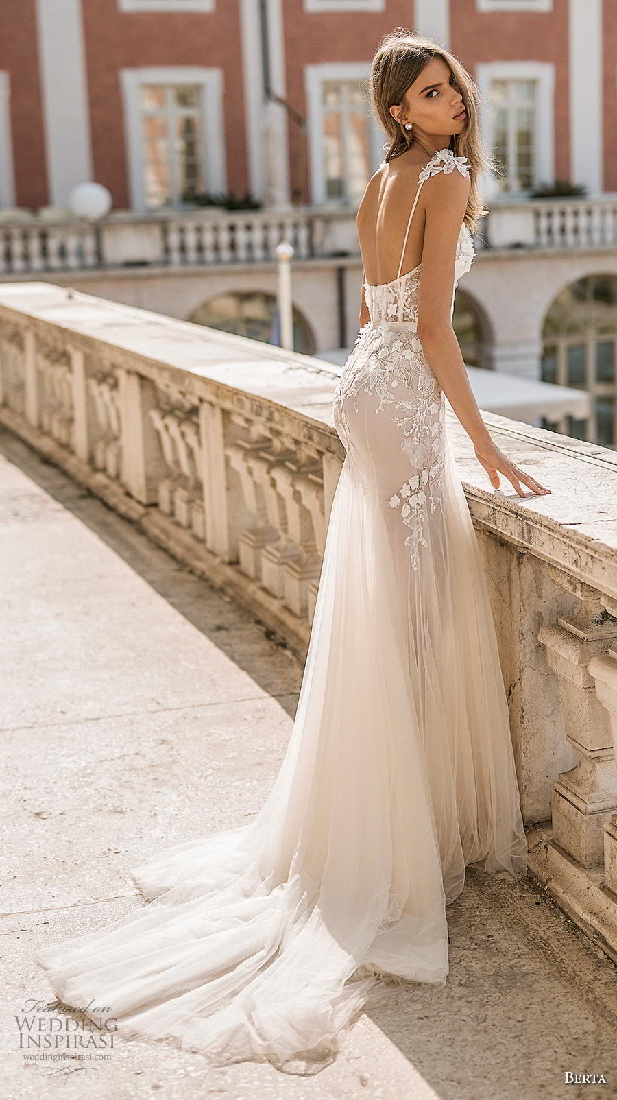 berta 2019 privee bridal long sheer sleeves spaghetti strap sweetheart neckline heavily embellished bodice bustier romantic a  line wedding dress backless medium train (1) bv