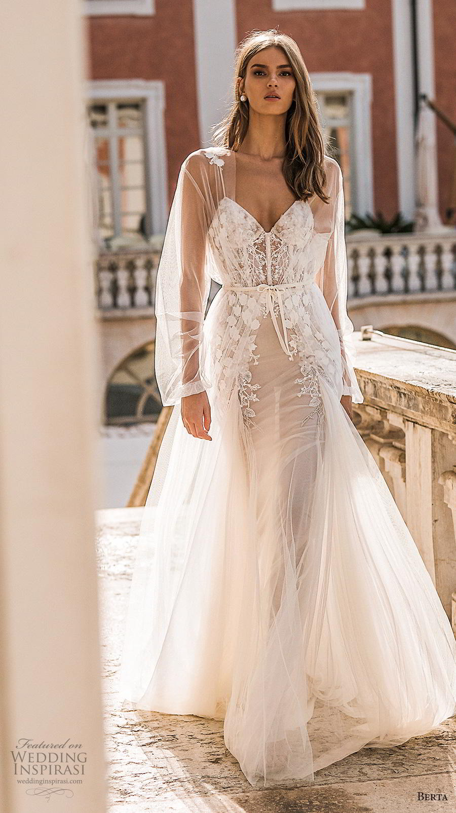 berta 2019 privee bridal long sheer sleeves spaghetti strap sweetheart neckline heavily embellished bodice bustier romantic a  line wedding dress backless medium train (1) mv
