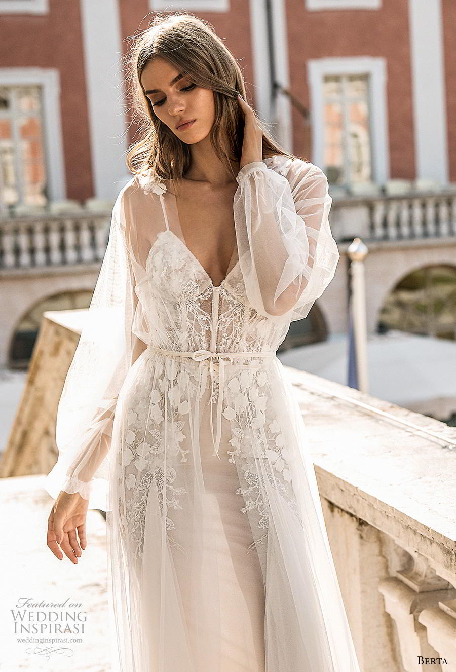 berta 2019 privee bridal long sheer sleeves spaghetti strap sweetheart neckline heavily embellished bodice bustier romantic a  line wedding dress backless medium train (1) zv