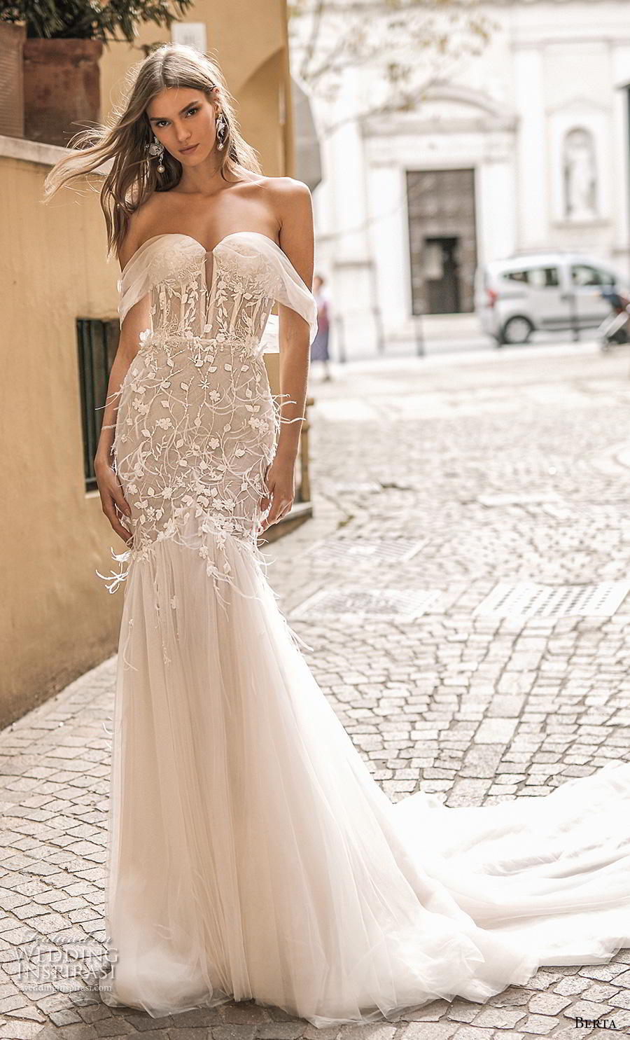 52e0d800568ac berta 2019 privee bridal off the shoulder sweetheart neckline heavily  embellished bodice bustier tulle skirt romantic