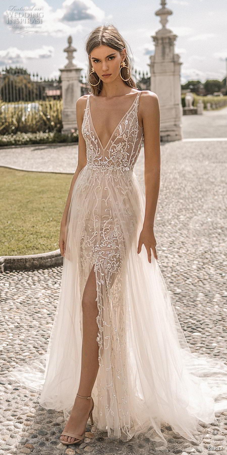 berta 2019 privee bridal sleeveless deep v neck full embellishment sexy glitzy glamorous soft a  line wedding dress backless open scoop back chapel train (9) lv