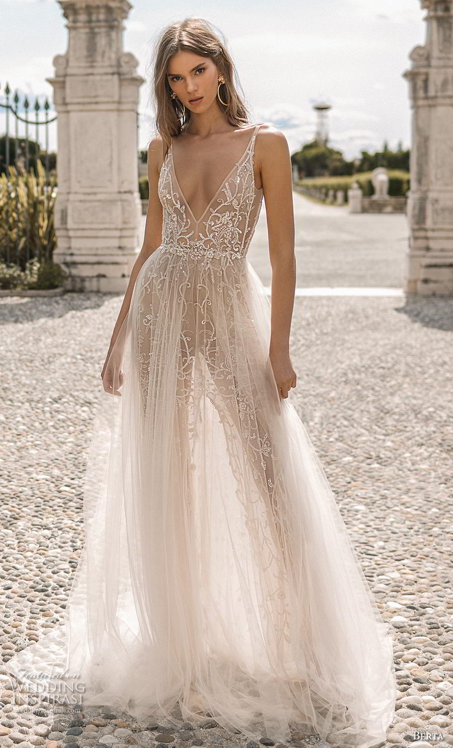 berta 2019 privee bridal sleeveless deep v neck full embellishment sexy glitzy glamorous soft a  line wedding dress backless open scoop back chapel train (9) mv