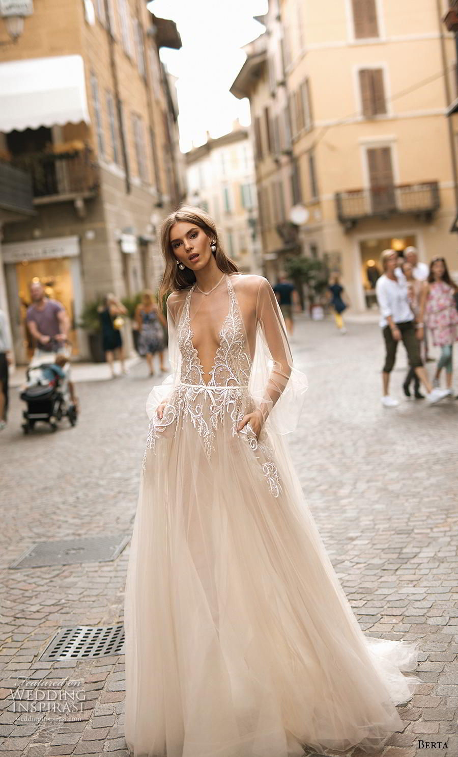berta 2019 privee bridal sleeveless halter deep v neck heavily embellished bodice glitzy glamorous champagne a  line wedding dress pockets backless sweep train (6) mv