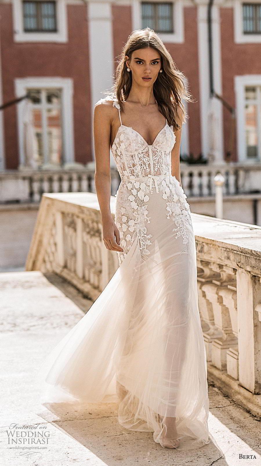 berta 2019 privee bridal spaghetti strap sweetheart neckline heavily embellished bodice bustier romantic a  line wedding dress backless medium train (1) mv