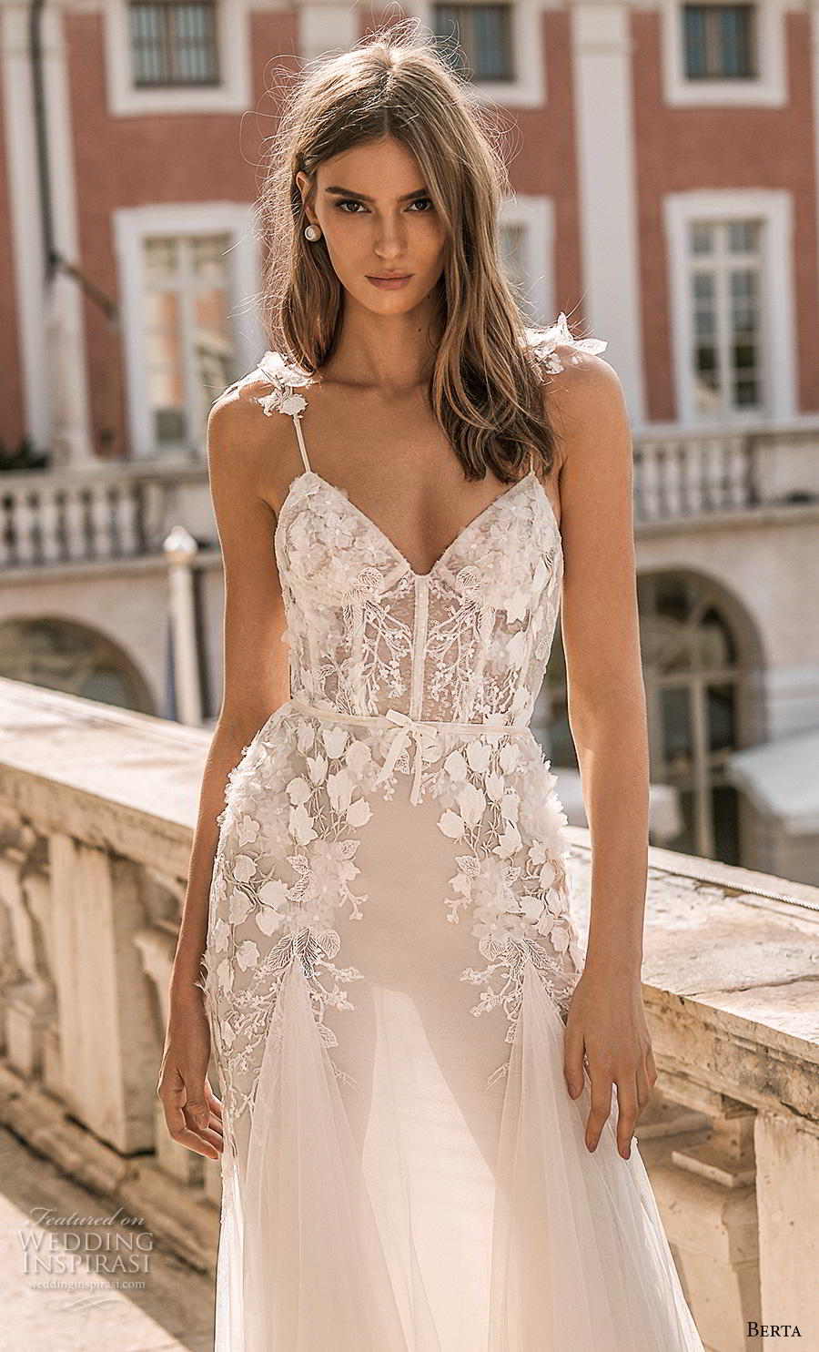 berta 2019 privee bridal spaghetti strap sweetheart neckline heavily embellished bodice bustier romantic a  line wedding dress backless medium train (1) zv