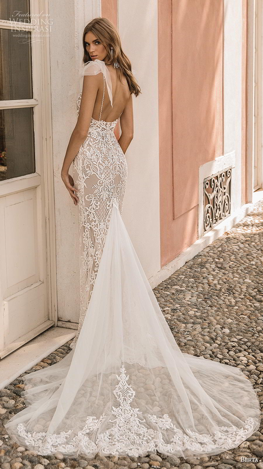 berta 2019 privee bridal thin strap diamond neck full embellishment elegant glamorous sheath wedding dress backless chapel train (5) bv