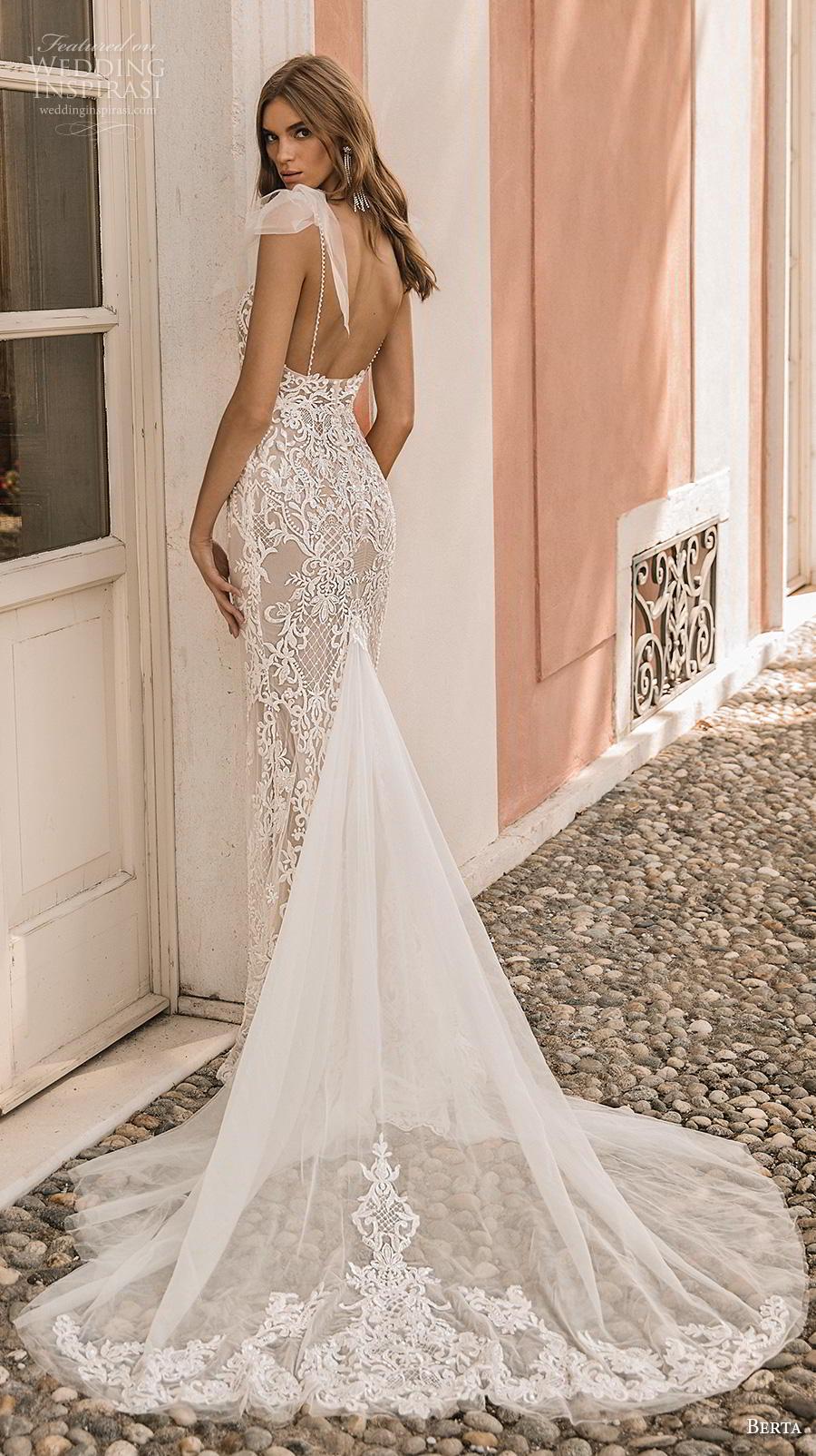 berta 2019 privee bridal thin strap diamond neck full embellishment elegant glamorous sheath wedding dress backless chapel train (5) bv
