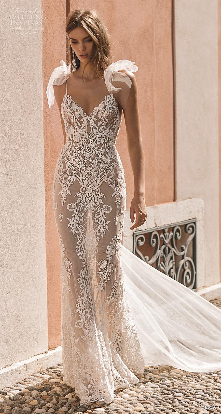 berta 2019 privee bridal thin strap diamond neck full embellishment elegant glamorous sheath wedding dress backless chapel train (5) mv