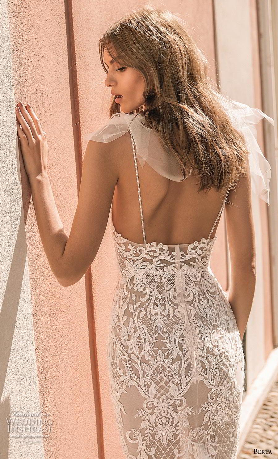 berta 2019 privee bridal thin strap diamond neck full embellishment elegant glamorous sheath wedding dress backless chapel train (5) zbv