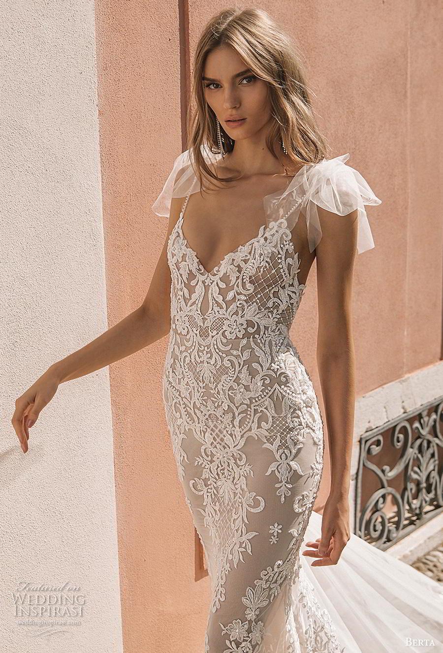 berta 2019 privee bridal thin strap diamond neck full embellishment elegant glamorous sheath wedding dress backless chapel train (5) zv