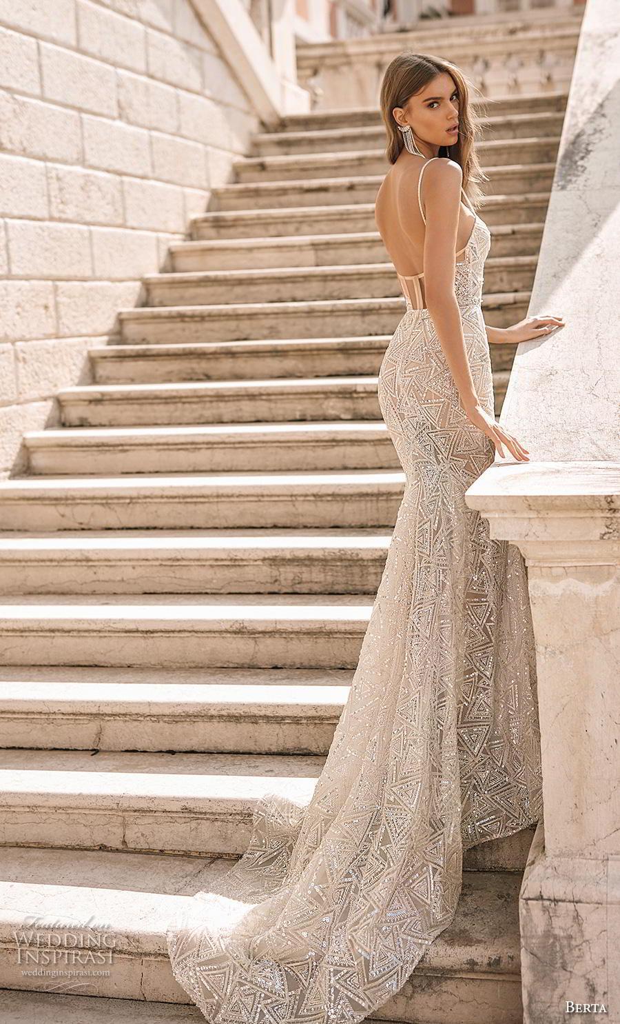 berta 2019 privee bridal thin strap sweetheart neckline full embellishment bustier glitzy glamorous elegant sheath wedding dress backless chapel train (8) bv