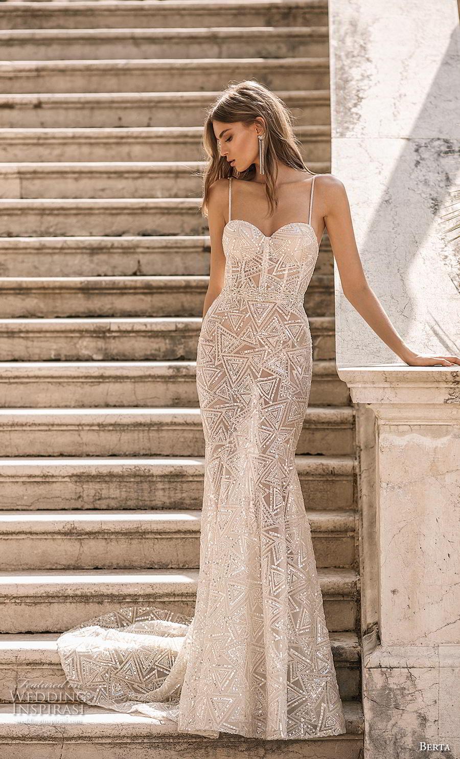 berta 2019 privee bridal thin strap sweetheart neckline full embellishment bustier glitzy glamorous elegant sheath wedding dress backless chapel train (8) mv