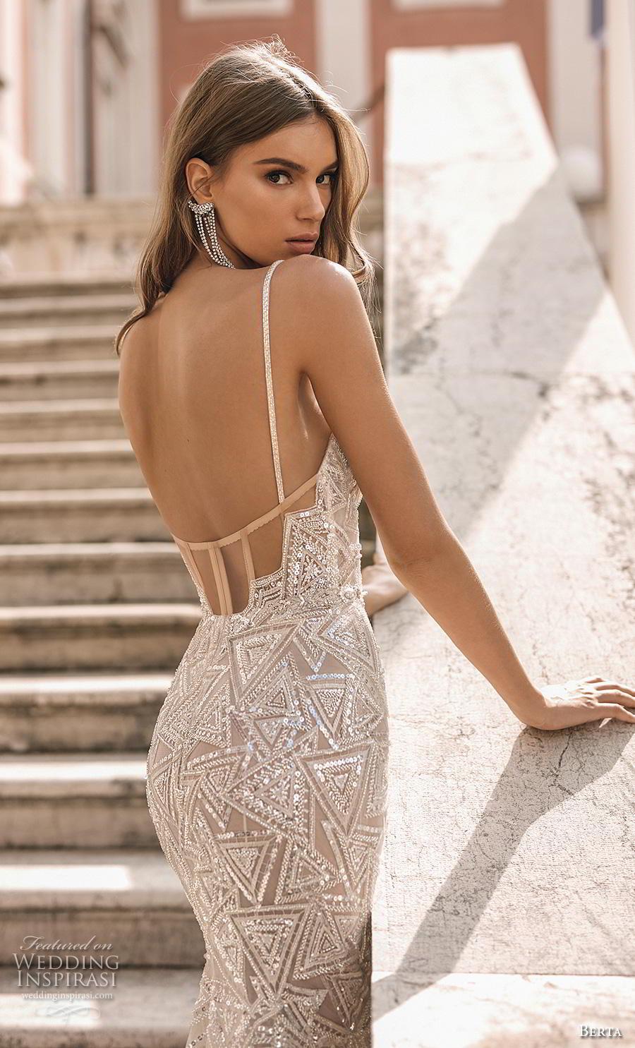 berta 2019 privee bridal thin strap sweetheart neckline full embellishment bustier glitzy glamorous elegant sheath wedding dress backless chapel train (8) zbv