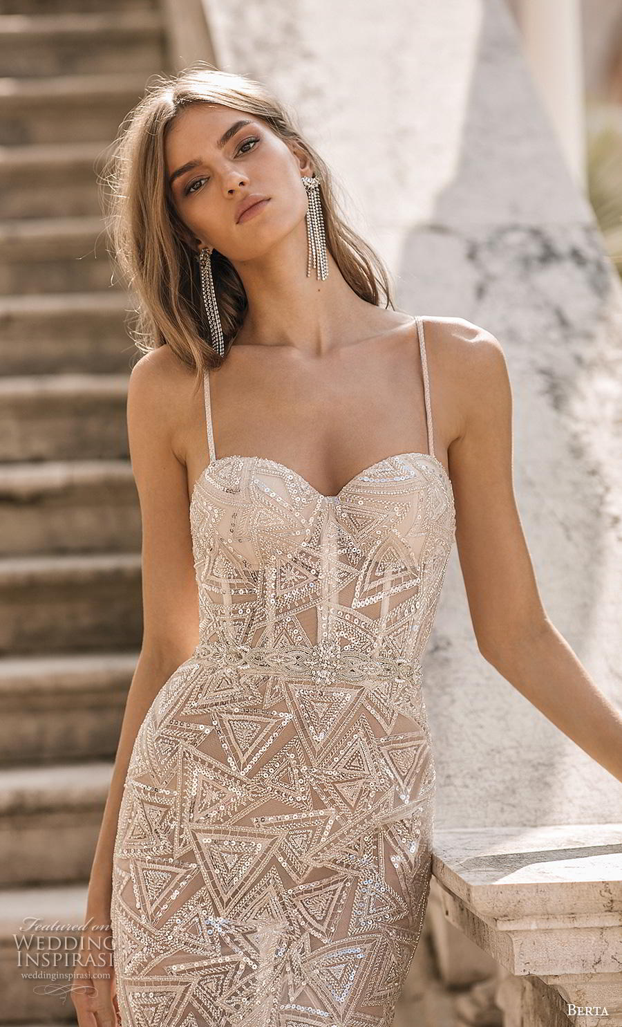 berta 2019 privee bridal thin strap sweetheart neckline full embellishment bustier glitzy glamorous elegant sheath wedding dress backless chapel train (8) zv