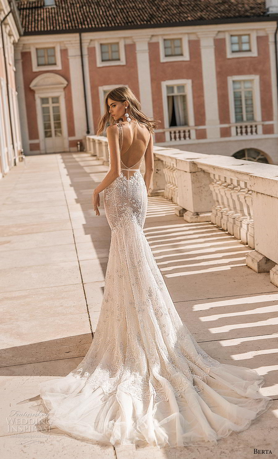 berta 2019 privee bridal thin strap sweetheart neckline heavily embellished bodice bustier sexy romantic mermaid wedding dress low open back backless chapel train (2) bv