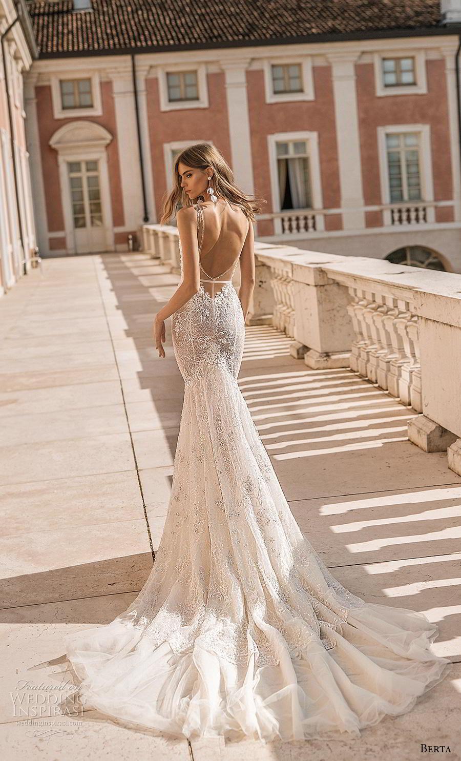 berta 2019 privee bridal thin strap sweetheart neckline heavily embellished bodice bustier sexy romantic mermaid wedding dress low open back backless chapel train (2) bv