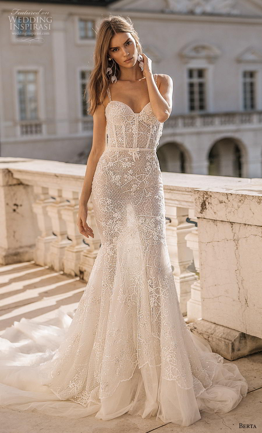 berta 2019 privee bridal thin strap sweetheart neckline heavily embellished bodice bustier sexy romantic mermaid wedding dress low open back backless chapel train (2) mv