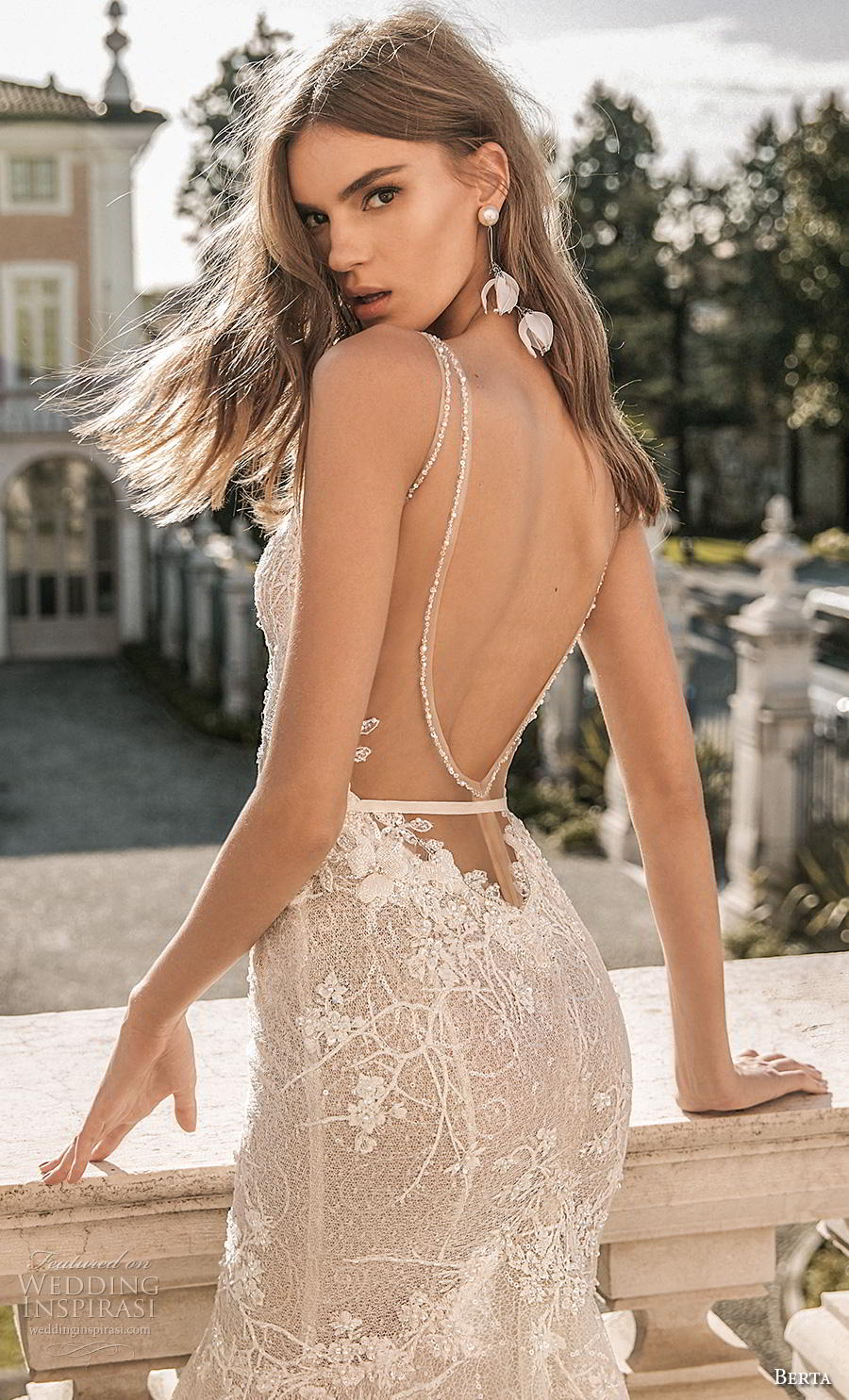 berta 2019 privee bridal thin strap sweetheart neckline heavily embellished bodice bustier sexy romantic mermaid wedding dress low open back backless chapel train (2) zbv