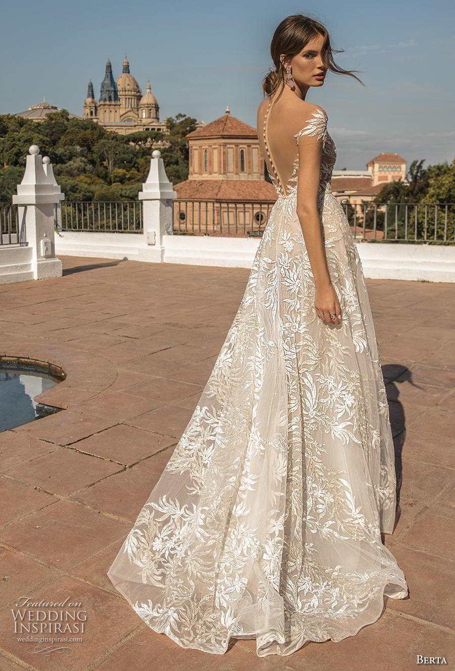 berta fall 2019 muse bridal cal sleeves illusion bateau v neckline full embellishment elegant modified a  line wedding dress sheer button back chapel train (3) bv