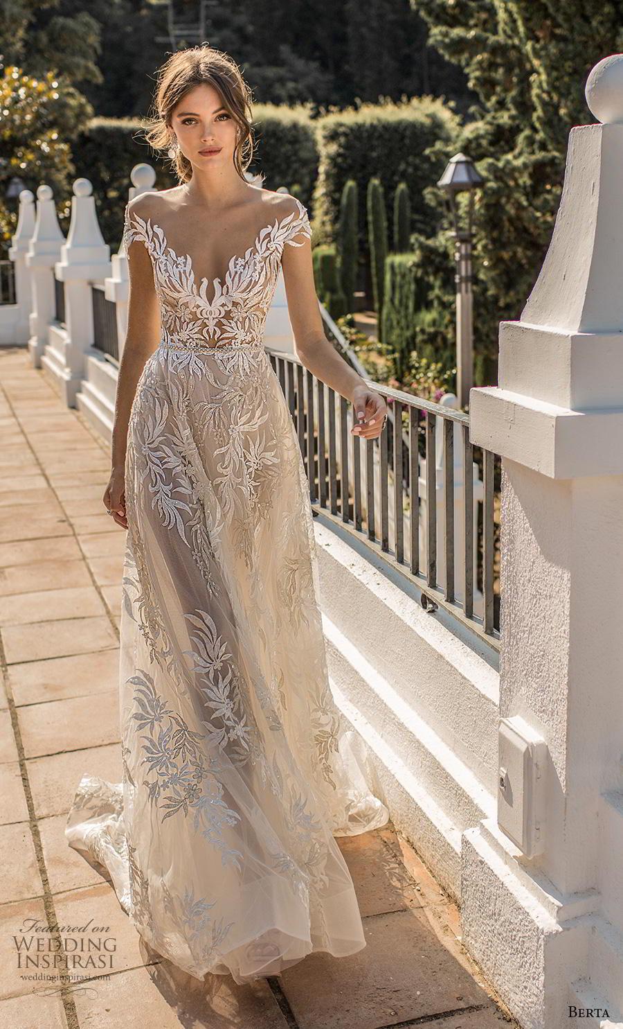 berta fall 2019 muse bridal cal sleeves illusion bateau v neckline full embellishment elegant modified a  line wedding dress sheer button back chapel train (3) mv