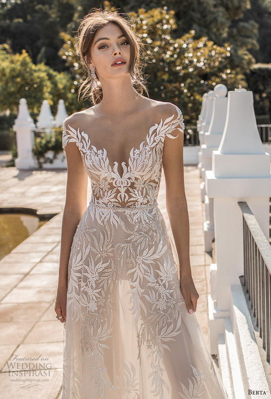 berta fall 2019 muse bridal cal sleeves illusion bateau v neckline full embellishment elegant modified a  line wedding dress sheer button back chapel train (3) zv