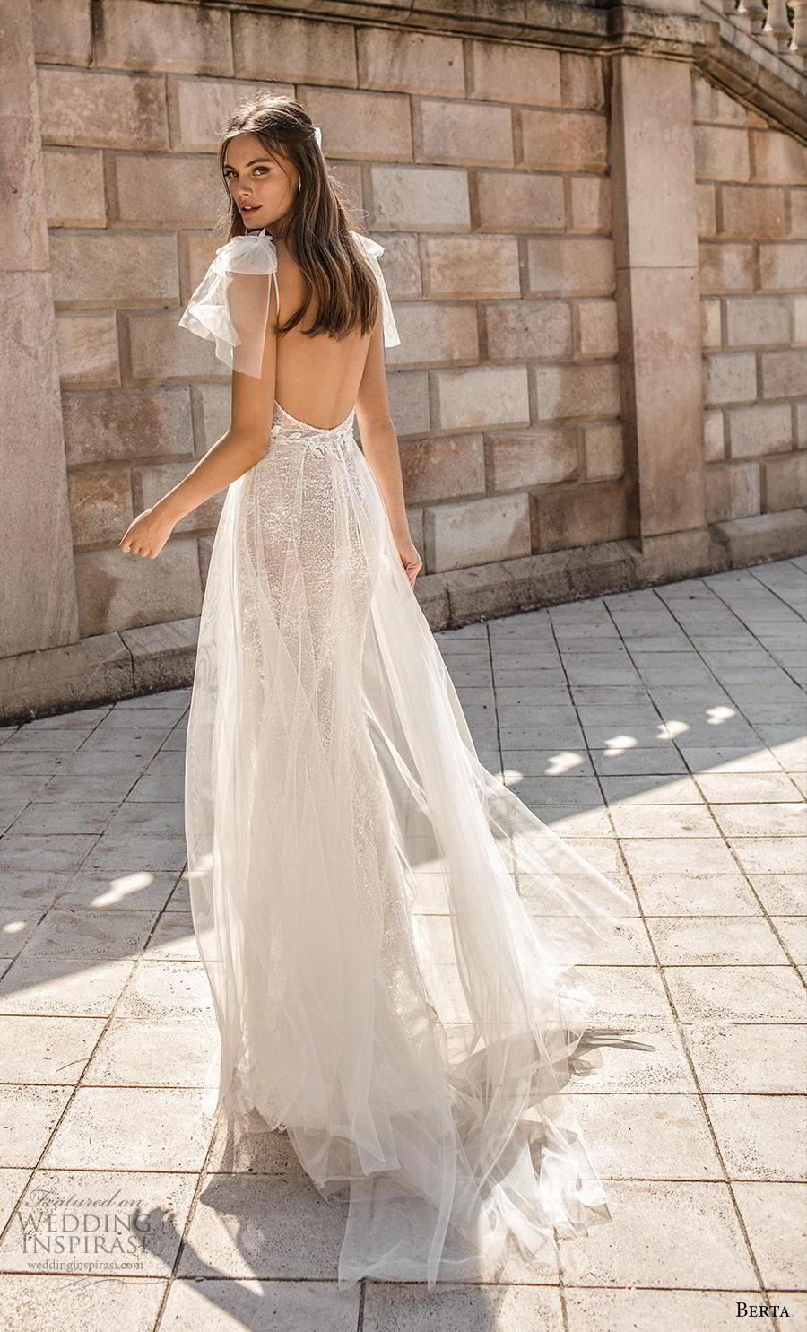 berta fall 2019 muse bridal cap sleeves deep v neck full embellishment slit skirt glitzy glamorous elegant sheath wedding dress backless sweep train (6) bv
