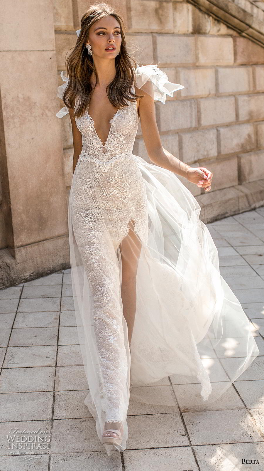 berta fall 2019 muse bridal cap sleeves deep v neck full embellishment slit skirt glitzy glamorous elegant sheath wedding dress backless sweep train (6) mv
