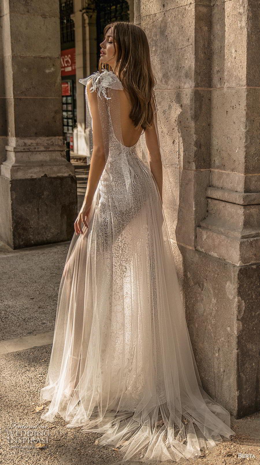 berta fall 2019 muse bridal cap sleeves spaghetti strap diamond neckline full embellishment slit skirt glamorous sexy soft a  line wedding dress backless sweep train (11) bv