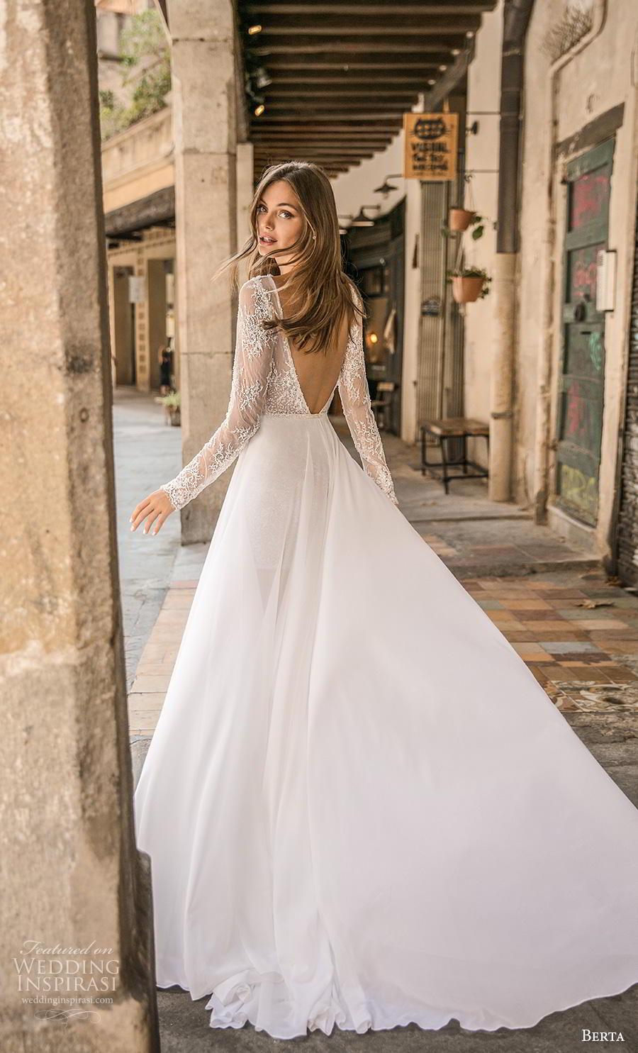 berta fall 2019 muse bridal long sleeves bateau neck full embellishment romantic mini dress short wedding dress backless v back chapel train (13) bv
