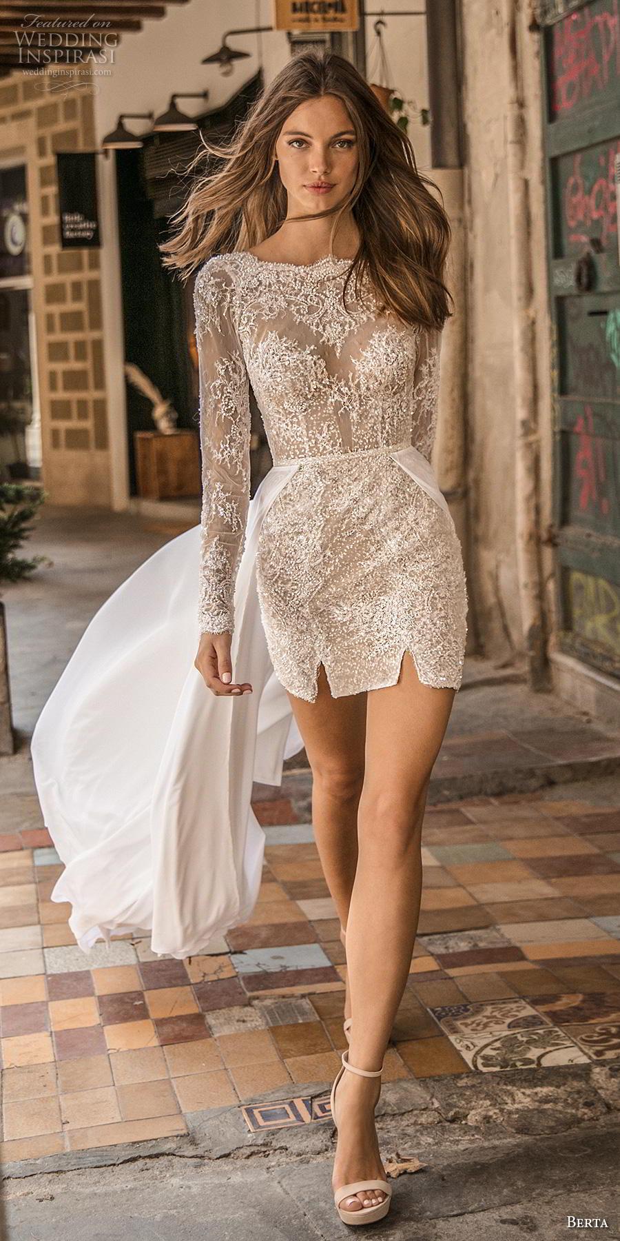 berta fall 2019 muse bridal long sleeves bateau neck full embellishment romantic mini dress short wedding dress backless v back chapel train (13) mv