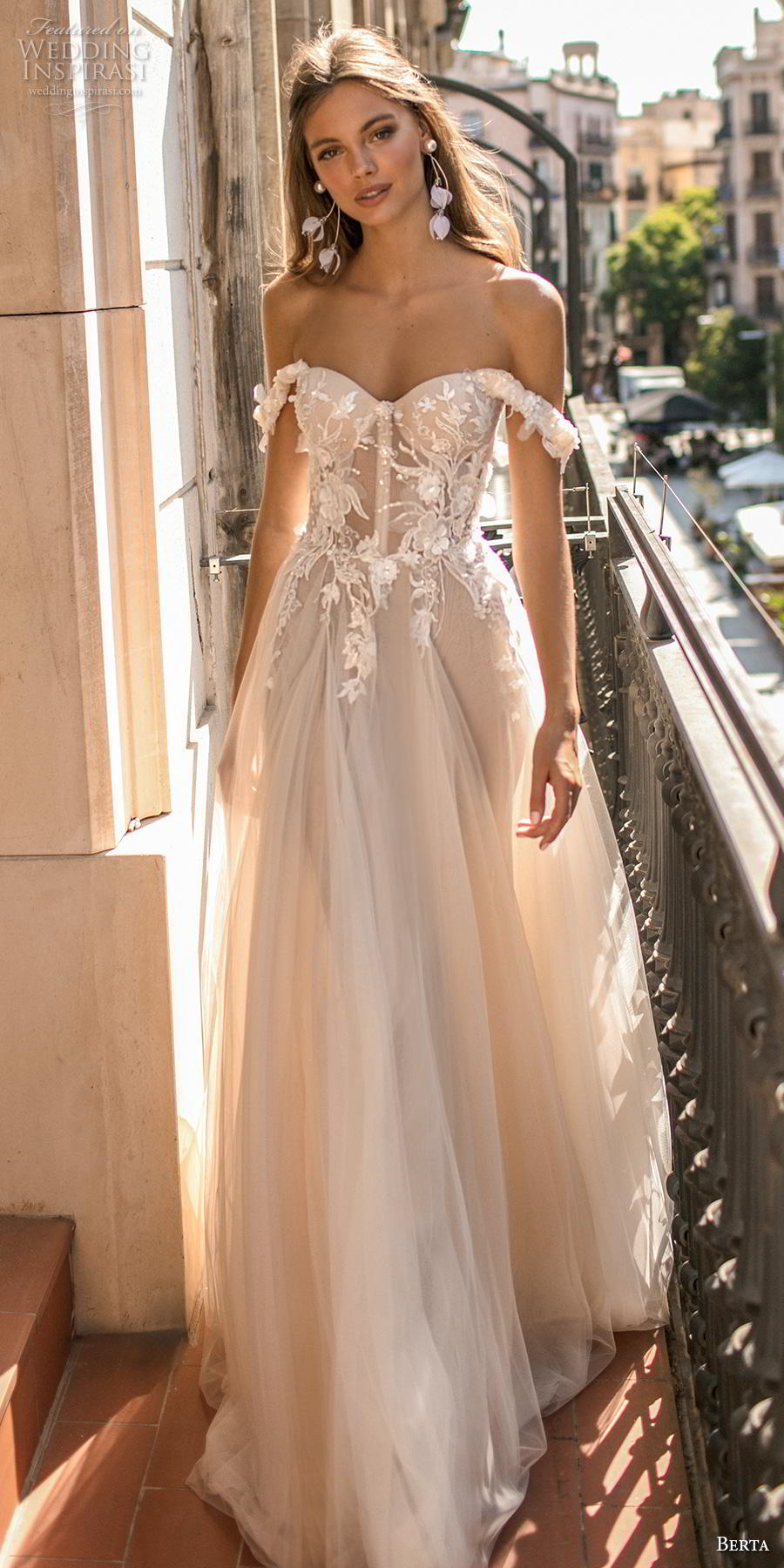 berta fall 2019 muse bridal off the shoulder sweetheart neckline heavily embellished bodice bustier tulle skirt romantic blush a  line wedding dress (5) lv