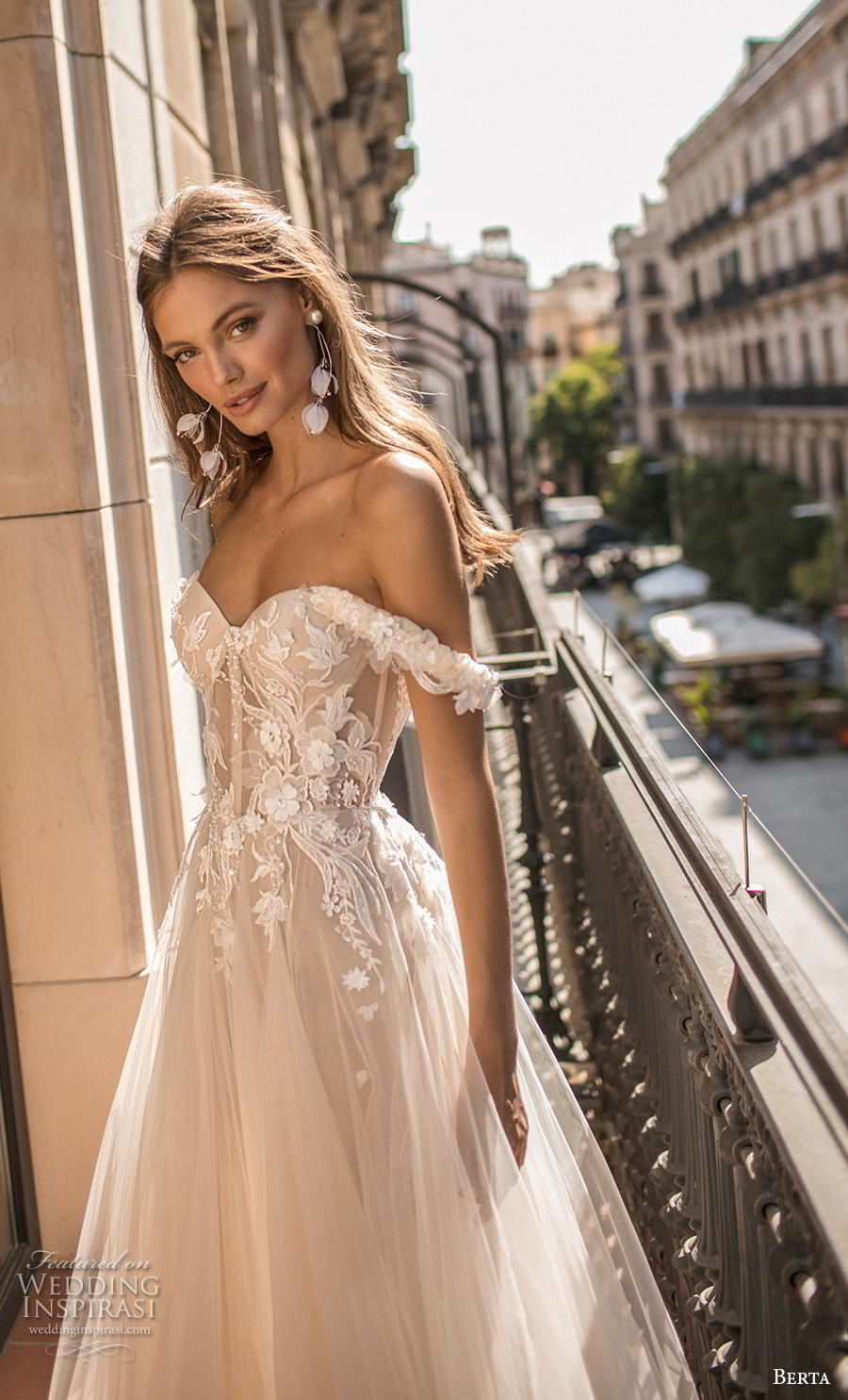 berta fall 2019 muse bridal off the shoulder sweetheart neckline heavily embellished bodice bustier tulle skirt romantic blush a  line wedding dress (5) zv