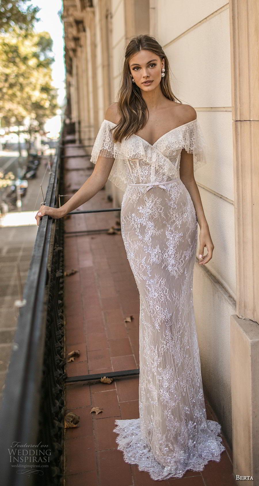 1c01b92fe7fe berta fall 2019 muse bridal off the shoulder v neck full embellishment  bohemian elegant sheath wedding
