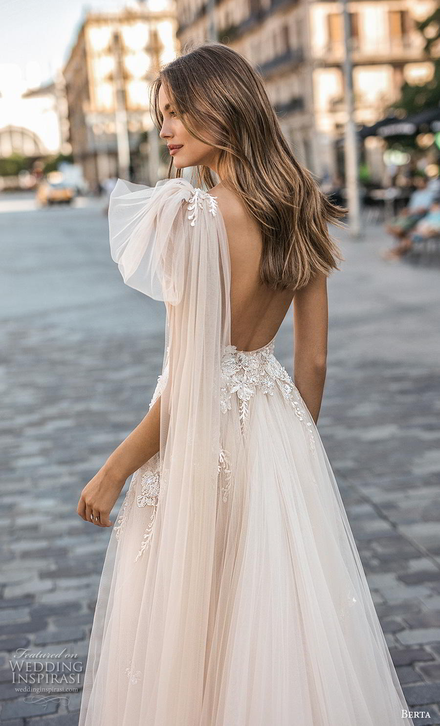berta fall 2019 muse bridal one shoulder asymmetrical neckline heavily embellished bodice tulle skirt romantic blush soft a  line wedding dress backless chapel train (1) zbv