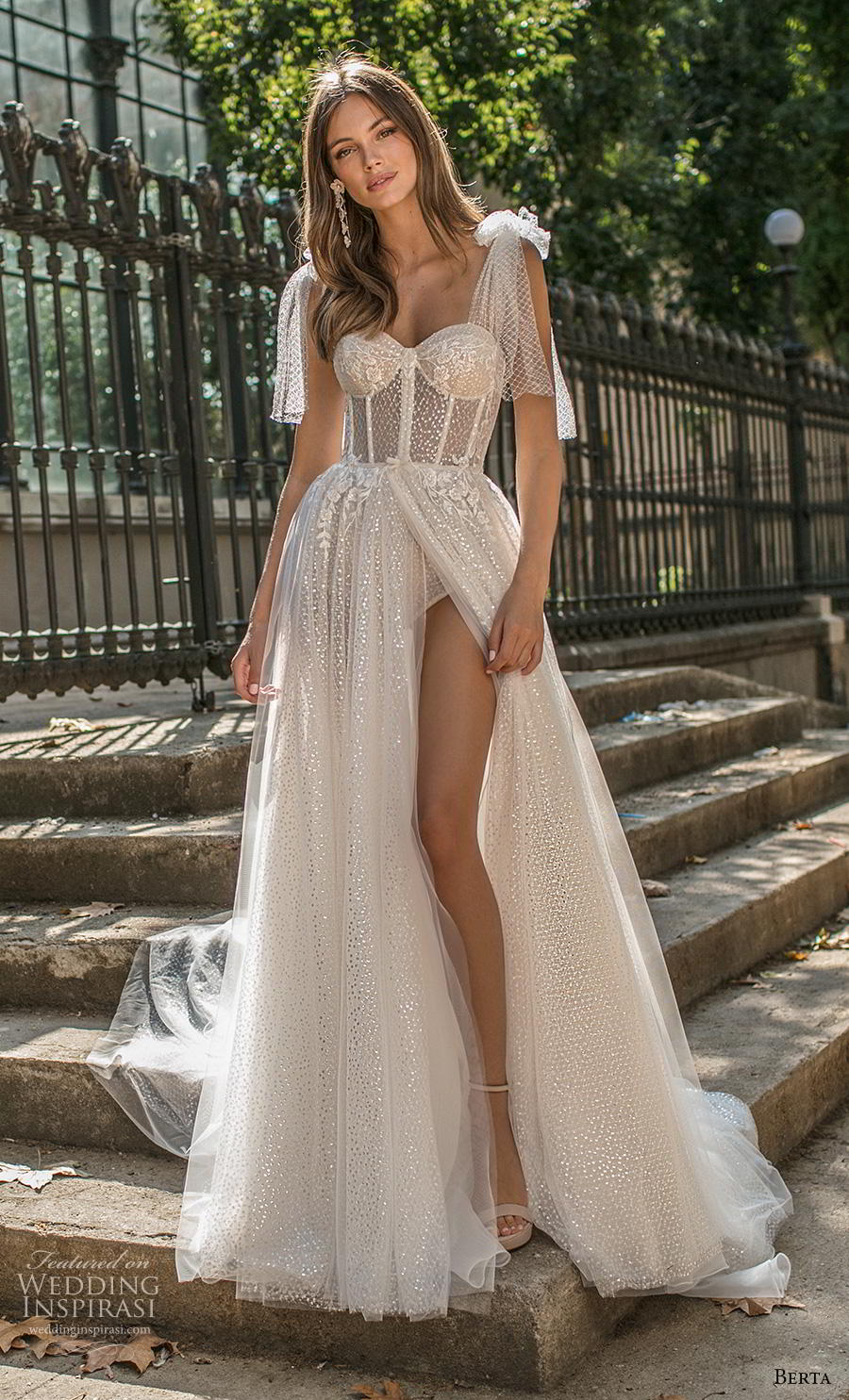 berta fall 2019 muse bridal ribbon strap sweetheart neckline heavily embellished bodice bustier slit skirt romantic a  line wedding dress backless chapel train (17) mv
