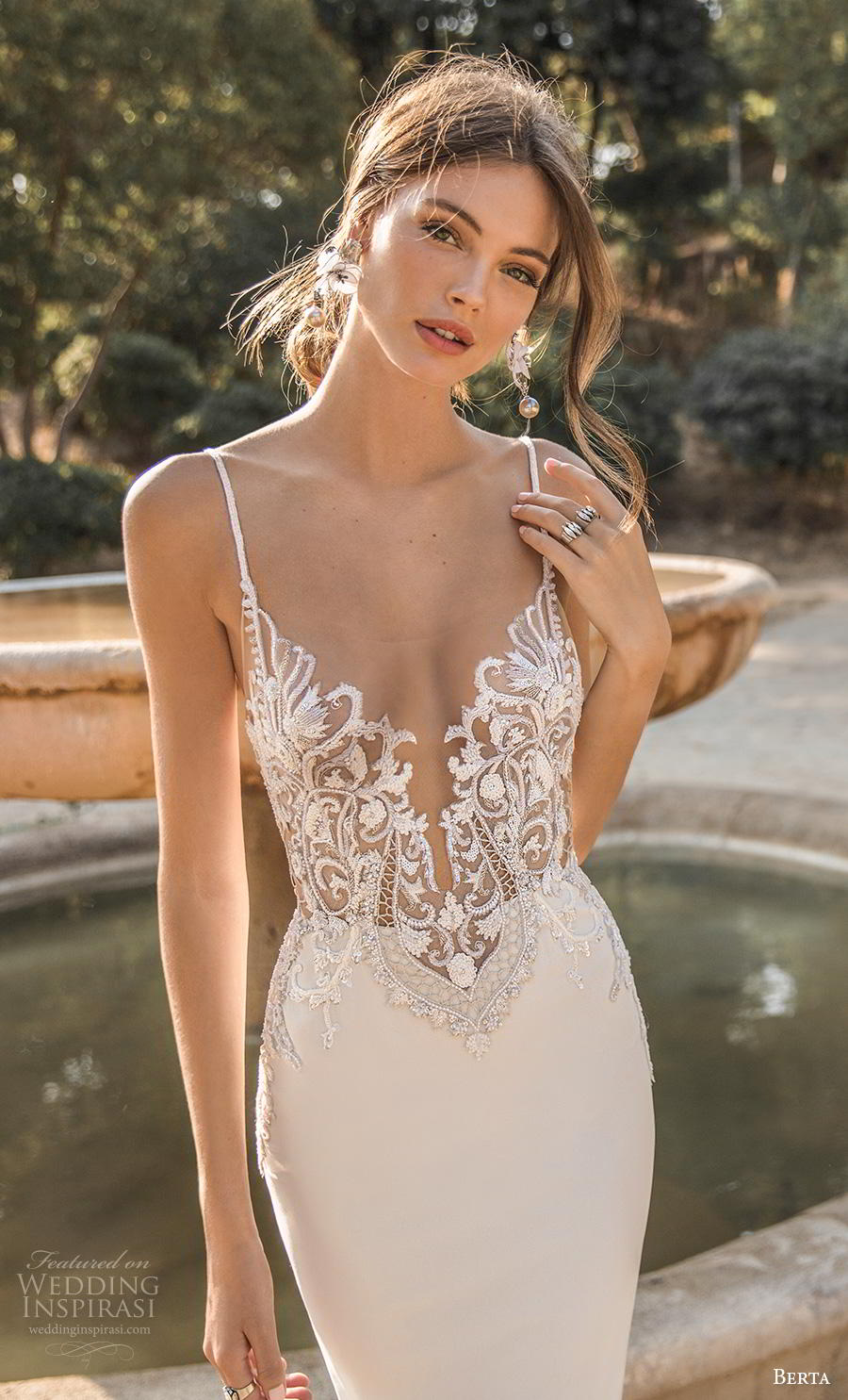 berta fall 2019 muse bridal spaghetti strap deep sweetheart neckline heavily embellished bodice elegant fit and flare sheath wedding dress backless sweep train (7) zv