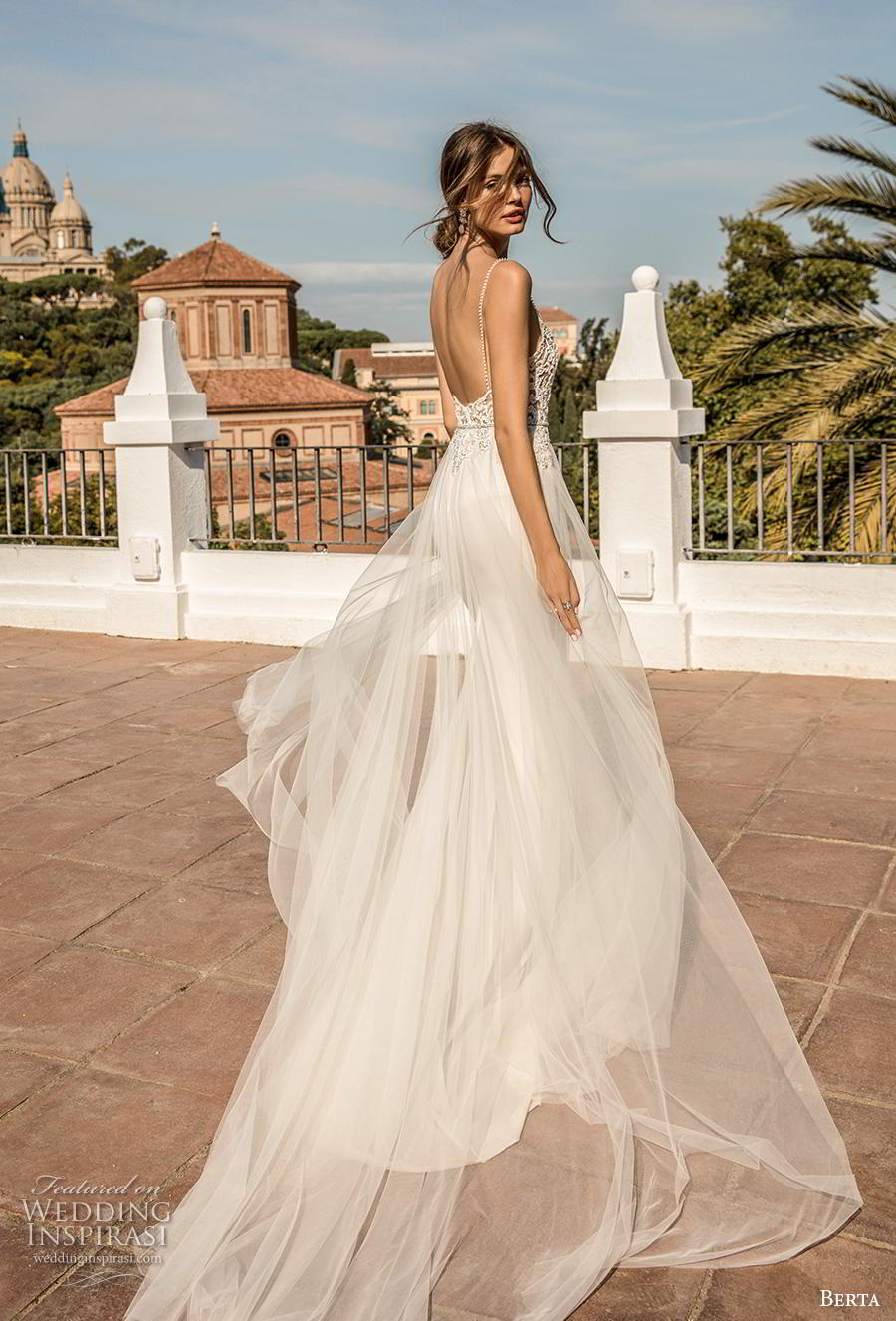 berta fall 2019 muse bridal spaghetti strap diamond neckline heavily embellished bodice sexy elegant sheath wedding dress a  line overskirt backless chapel train (10) bv