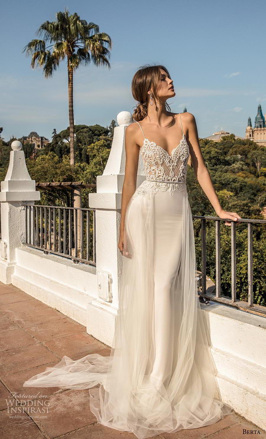 berta fall 2019 muse bridal spaghetti strap diamond neckline heavily embellished bodice sexy elegant sheath wedding dress a  line overskirt backless chapel train (10) mv