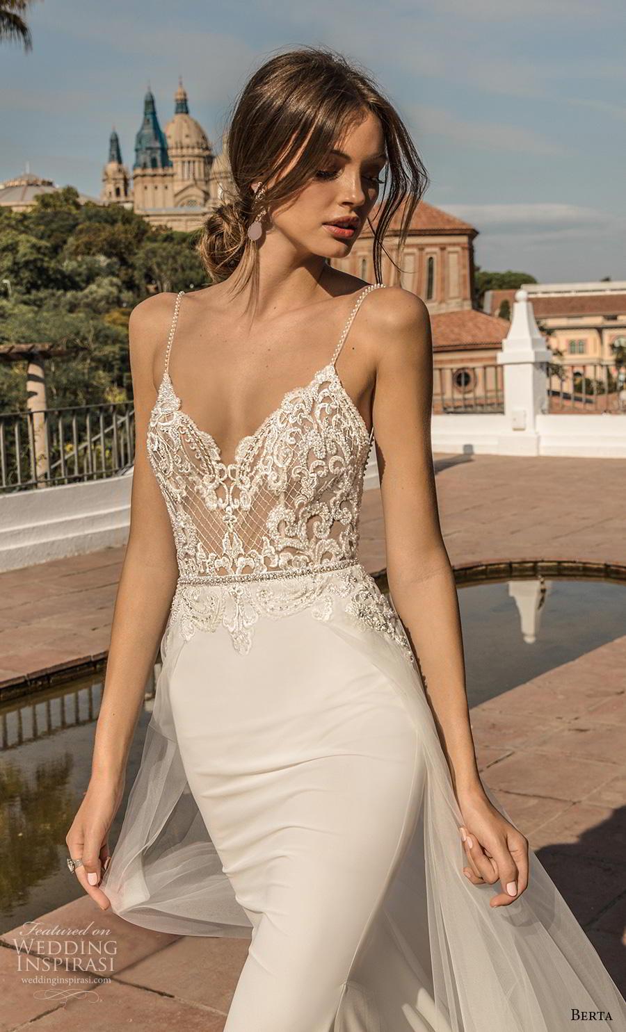 berta fall 2019 muse bridal spaghetti strap diamond neckline heavily embellished bodice sexy elegant sheath wedding dress a  line overskirt backless chapel train (10) zv
