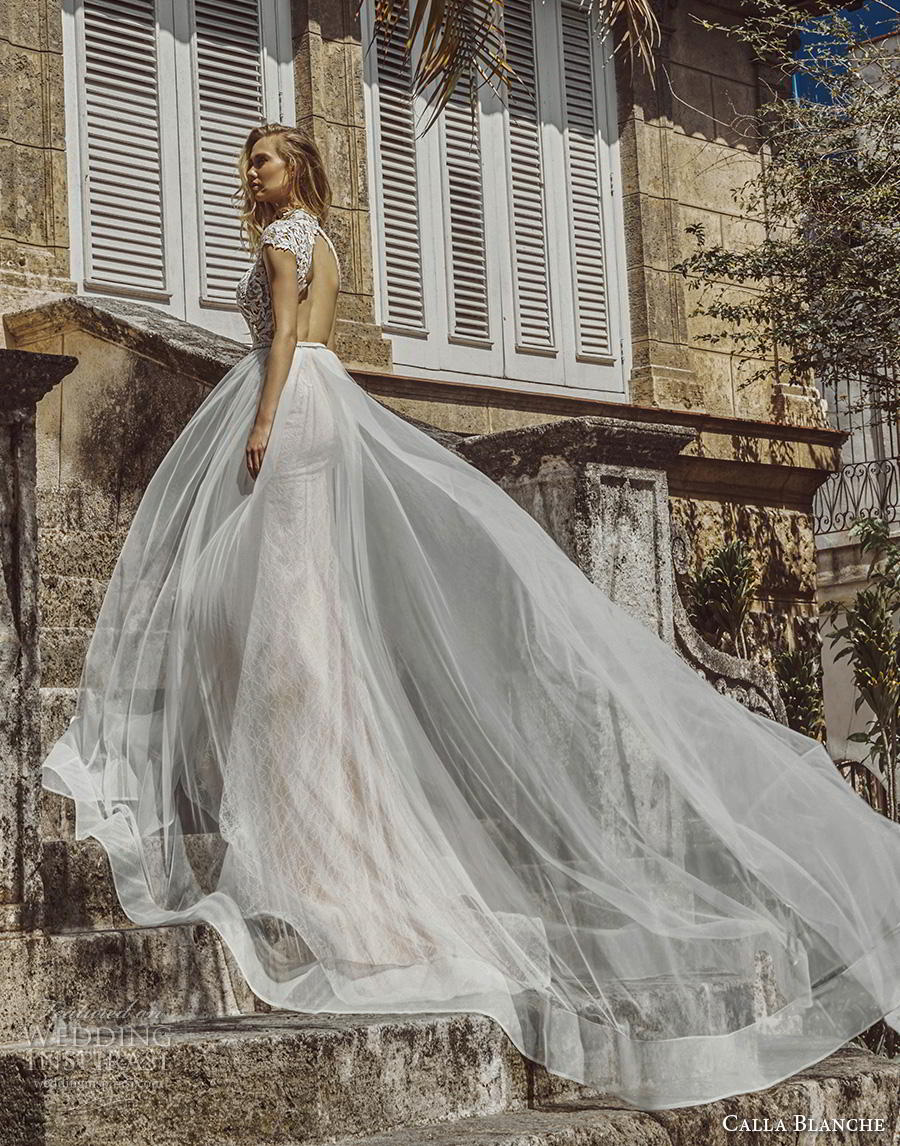 calla blanche fall 2018 bridal cap sleeves illusion high neck heavily embellished bodice tulle skirt sexy glamorous a  line wedding dress keyhole back chapel train (12) bv