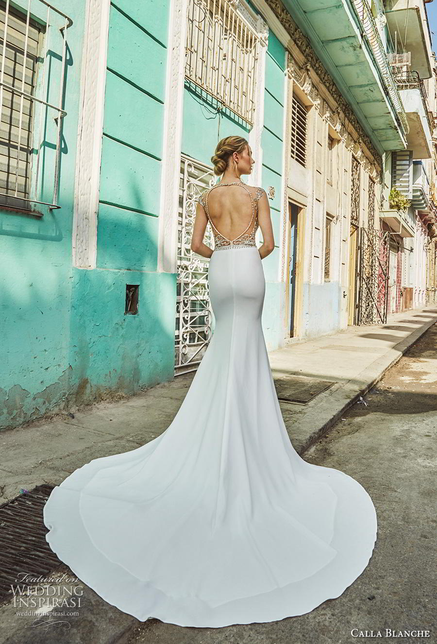 calla blanche fall 2018 bridal cap sleeves jewel neck heavily embellished bodice gltizy elegant fit and flare wedding dress keyhole back chapel train (13) bv