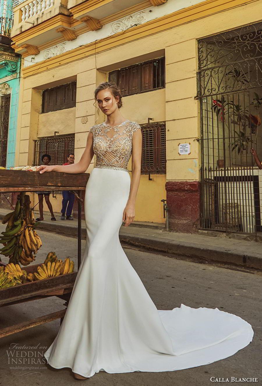 calla blanche fall 2018 bridal cap sleeves jewel neck heavily embellished bodice gltizy elegant fit and flare wedding dress keyhole back chapel train (13) mv