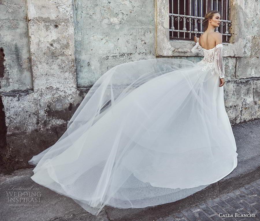 calla blanche fall 2018 bridal long bishop sleeves off shoulder deep plunging sweetheart neckline heavily embellished bodice elegant sheath wedding dress royal train (2) bv