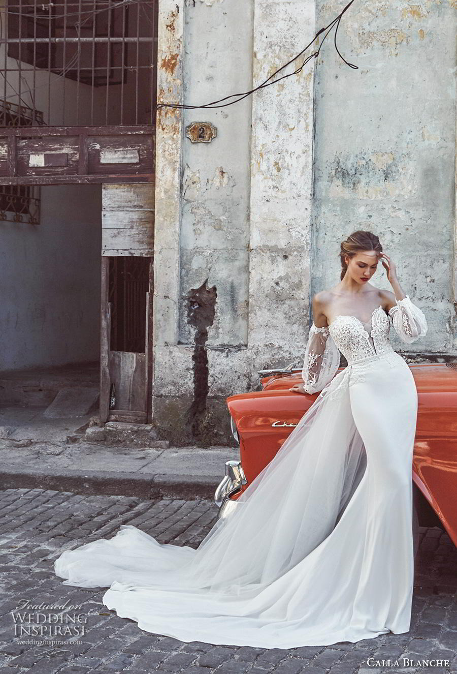 calla blanche fall 2018 bridal long bishop sleeves off shoulder deep plunging sweetheart neckline heavily embellished bodice elegant sheath wedding dress royal train (2) mv
