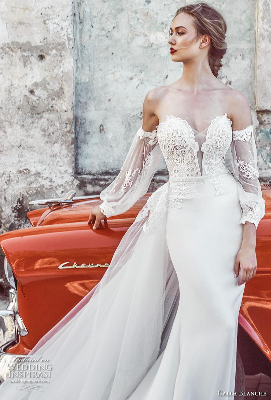 calla blanche fall 2018 bridal long bishop sleeves off shoulder deep plunging sweetheart neckline heavily embellished bodice elegant sheath wedding dress royal train (2) zv