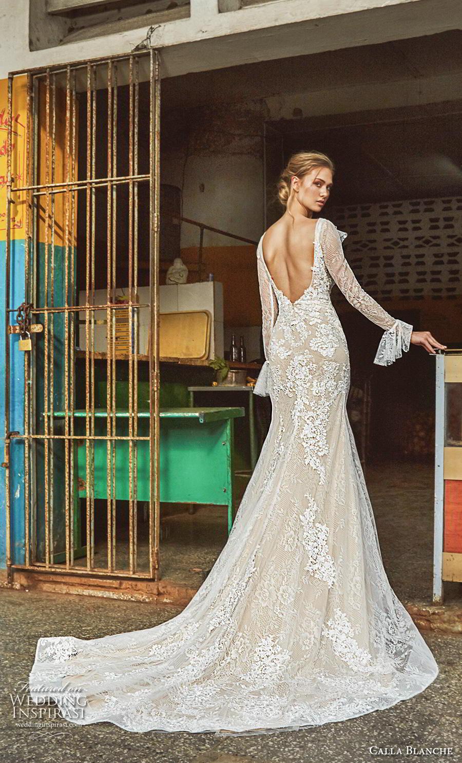 calla blanche fall 2018 bridal long poet sleeves v neck full embellishment elegant vintage modified a  line wedding dress backless v back chapel train (4) bv