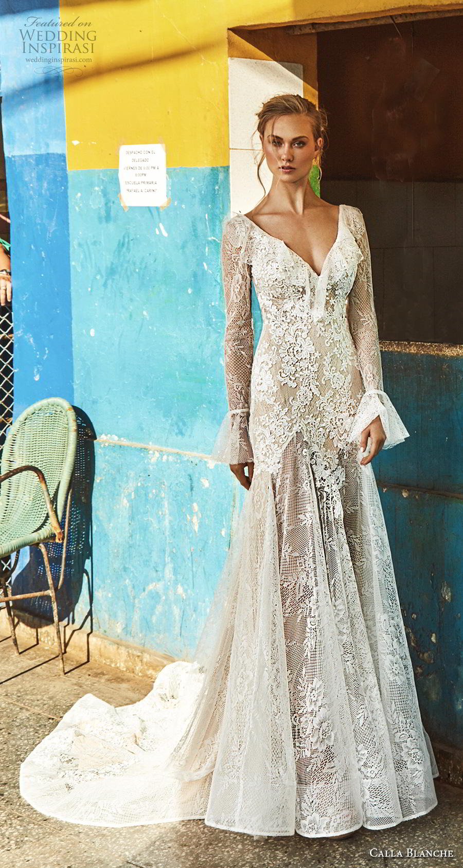 calla blanche fall 2018 bridal long poet sleeves v neck full embellishment elegant vintage modified a  line wedding dress backless v back chapel train (4) mv