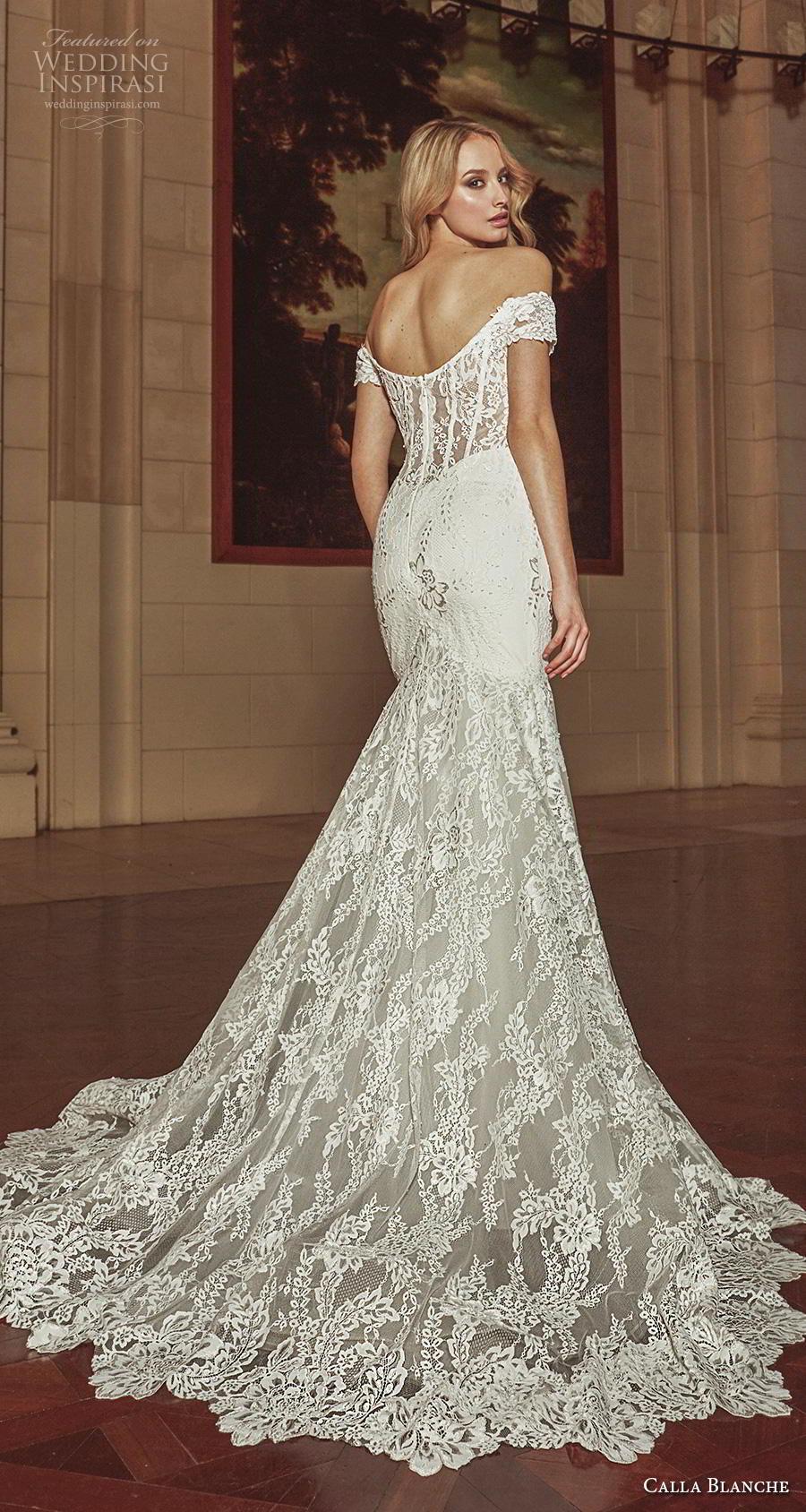 calla blanche fall 2018 bridal off the shoulder sweetheart neckline full embellishment elegant mermaid wedding dress chapel train (20) bv