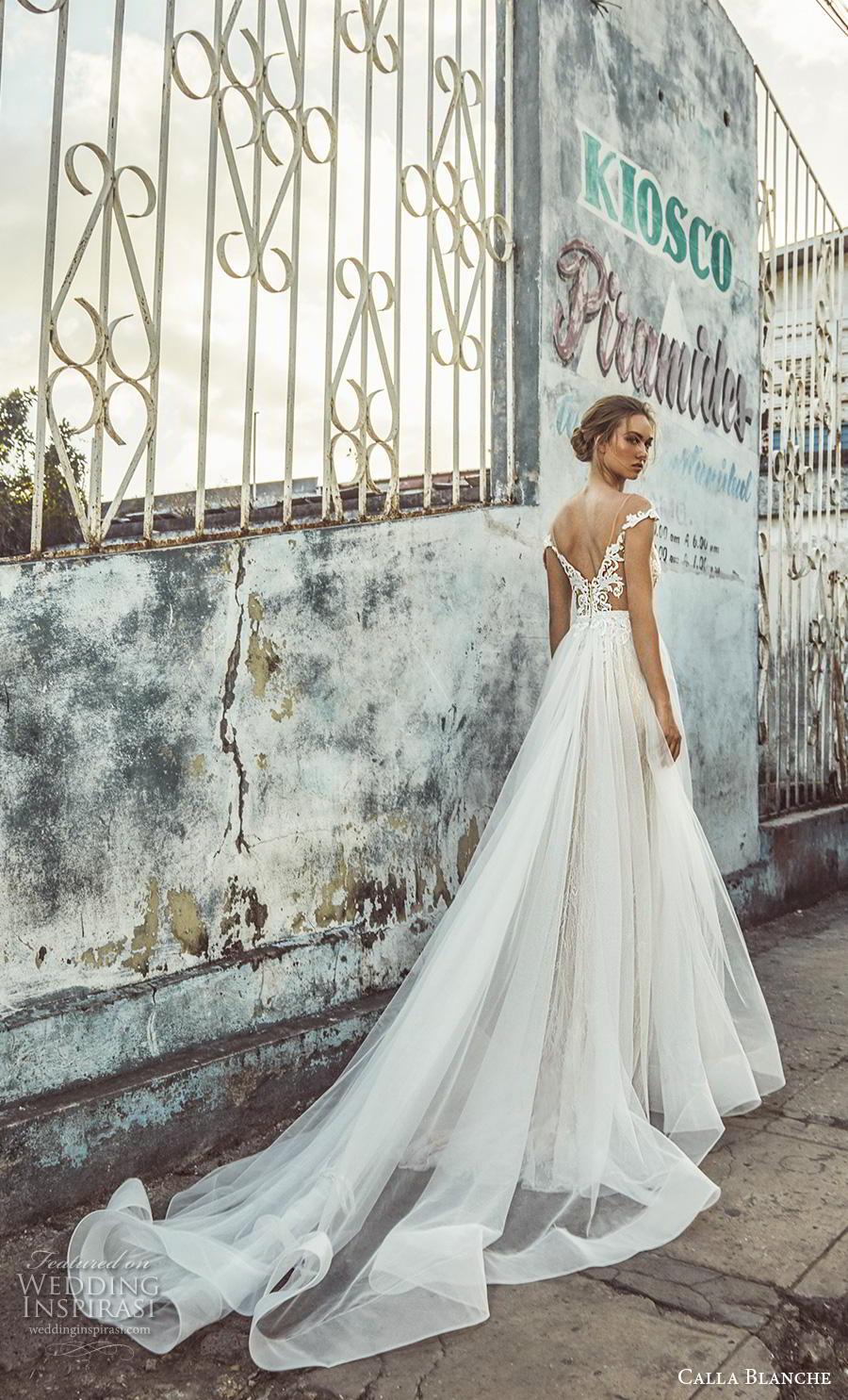 calla blanche fall 2018 bridal off the shoulder sweetheart neckline heavily embellished bodice tulle skirt romantic a  line wedding dress backless v back chapel train (17) bv
