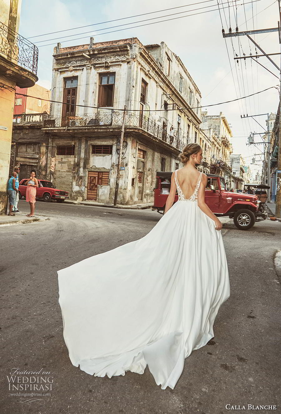 calla blanche fall 2018 bridal sleeveless deep plunging v neck heavily embellished bodice slit skirt sexy glamorous a  line wedding dress backless v back chapel train (9) bv
